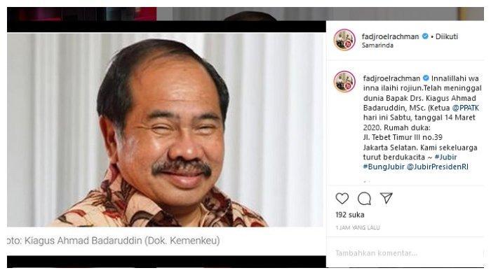 Kepala PPATK Kiagus Ahmad Badaruddin Tutup Usia di RS Persahabatan