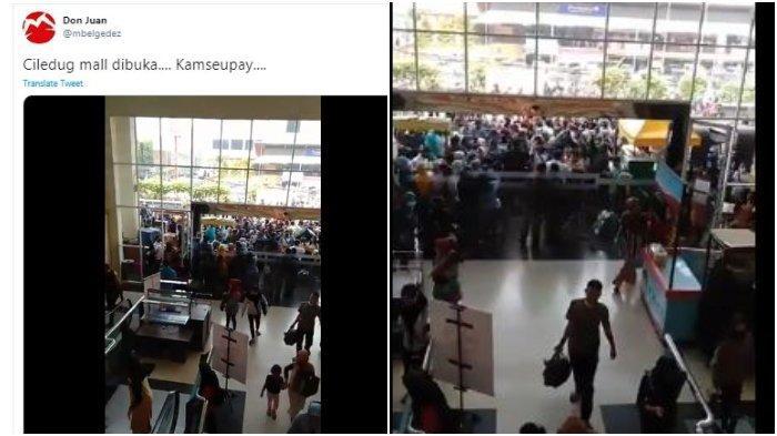 Tangkap layar video yang berisi Mal CBD Ciledug ramai pengunjung