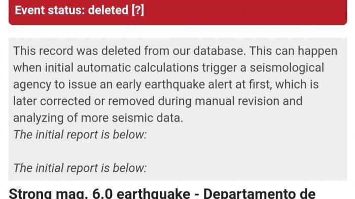 Keterangan di laman Volcano Discovery, terkait kabar gempa Argentina.