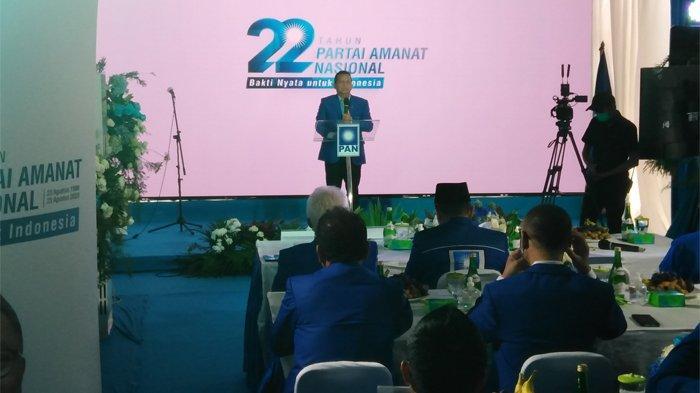 Ketua Dewan Kehormatan PAN Soetrisno Bachir saat acara puncak HUT ke-22 di Jalan Amil Nomor 7, Kalibata, Pancoran, Minggu (23/8/2020).