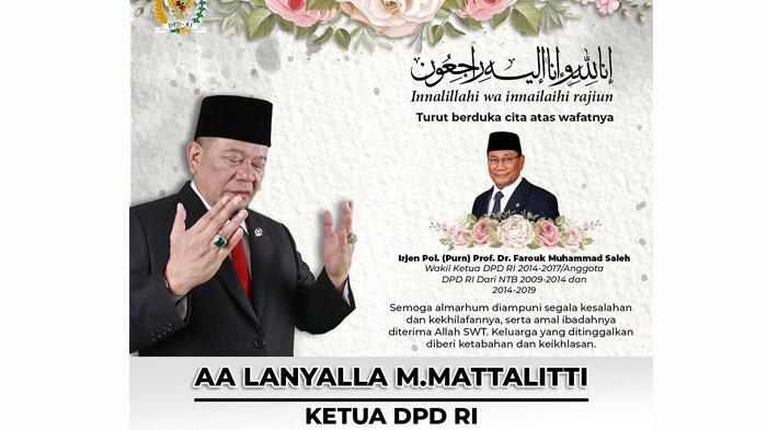 LaNyalla Sampaikan Duka Cita Atas Wafatnya Mantan Wakil Ketua DPD RI Prof Farouk Muhammad Saleh
