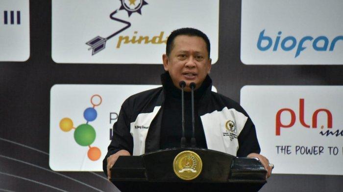 Ketua MPR RI, Bambang Soesatyo saat membuka Turnamen Catur Indonesia Master 2021 di Komplek Gedung MPR/DPR, Senayan, Jakarta, Sabtu (19/6)