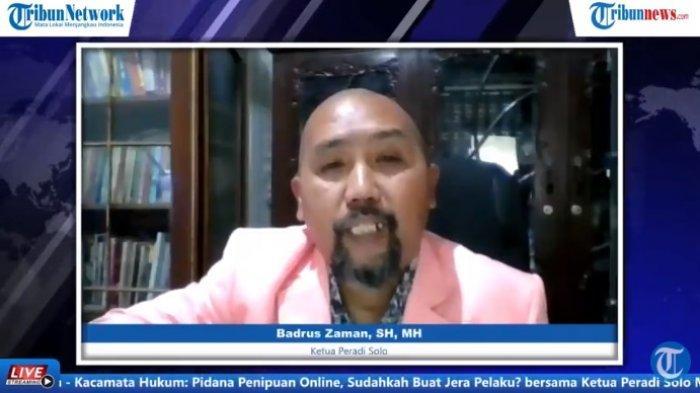 Ketua Peradi Solo, Badrus Zaman SH MH dalam tayangan Kacamata Hukum bersama Tribunnews, Senin (8/3/2020).