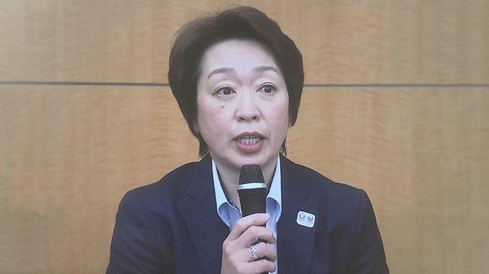 Ketua Umum Olimpiade Jepang, Seiko Hashimoto dalam jumpa pers, Kamis (25/2/2021).
