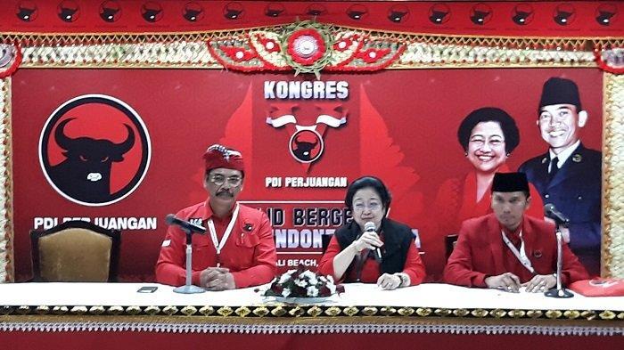Ketua Umum PDI Perjuangan Megawati Soekarnoputri di Grand Inna Beach Hotel, Sanur, Bali, Kamis (8/8/2019) malam.