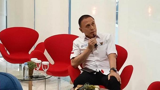 Ketua Umum PSSI, Mochamad Iriawan saat berkunjung ke Kantor Kompas Gramedia, Jakarta, Kamis (2/7/2020).