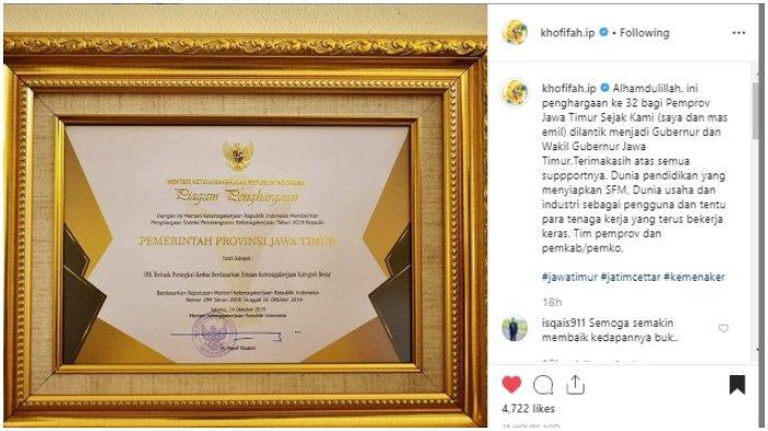Khofifah dan Emil Dardak Terima Penghargaan ke 32 Sejak Dilantik jadi Gubernur Jawa Timur