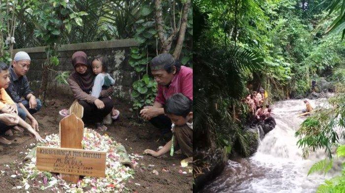 Khoirunnisa, korban susur sungai SMPN 1 Turi dimakamkan (kiri), dokumentasi proses evakuasi (kanan)