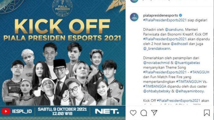 Kick Off Piala Presiden Esports 2021 akan digelar pada Sabtu (9/10/2021) pukul 12.00 WIB, Live di YouTube IESPL_ID & NET TV.