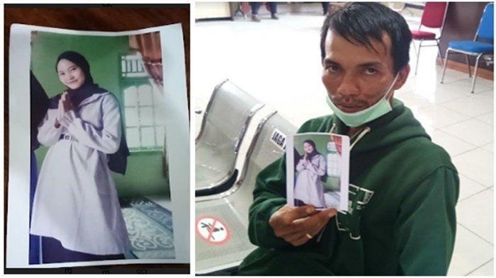Kiki Ayu Lestari (20), perempuan muda ini dilaporkan suaminya telah pergi dari rumah. Anton memegang foto Kiki, istri yang baru dinikahinya 1,5 bulan, Kamis (4/3/2021).