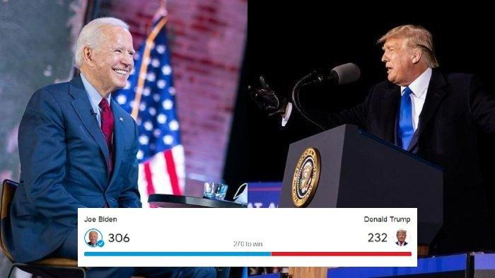 (Kiri) Joe Biden dari Partai Demokrat dan (Kanan) Donald Trump dari Partai Republik