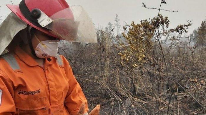 Sola mempraktikkan ilmu yang didapatnya dari pelatihan pemadaman kebakaran hutan dan lahan yang ia ikuti sebelum bergabung dengan Tim Cegah Api, kita kan nggak bisa sembarang siram. (BBC News Indonesia)