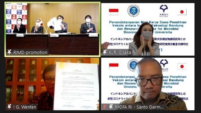 Konsulat Jenderal Indonesia (KJRI) Osaka memprakarsai kerja sama penelitian vaksin virus antara Institut Teknologi Bandung (ITB) dan Research Institute for Microbial Diseases (RIMD), Osaka University, Jepang, Kamis (4/3/2021).