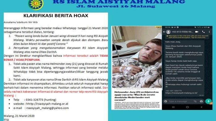 [HOAX] Kabar Pasien Positif Corona asal Belanda Sempat Dirawat di Malang Bulan Januari, RS Membantah