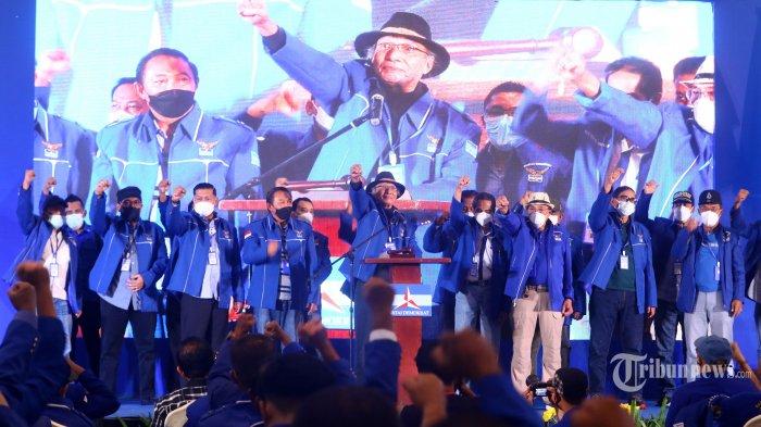 Pendiri Partai Demokrat, Etty Manduapessi secara resmi membuka Kongres Luar Biasa (KLB) Partai Demokrat di The Hill Hotel Sibolangit, Deliserdang, Sumatera Utara, Jumat (5/3/2021). Berdasarkan hasil KLB tersebut, Moeldoko terpilih menjadi Ketua Umum Partai Demokrat. Tribun Medan/Danil Siregar