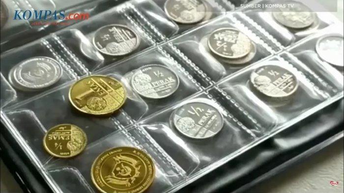 Bentuk koin dirham dan dinar yang digunakan sebagai alat transaksi di Pasar Muamalah.