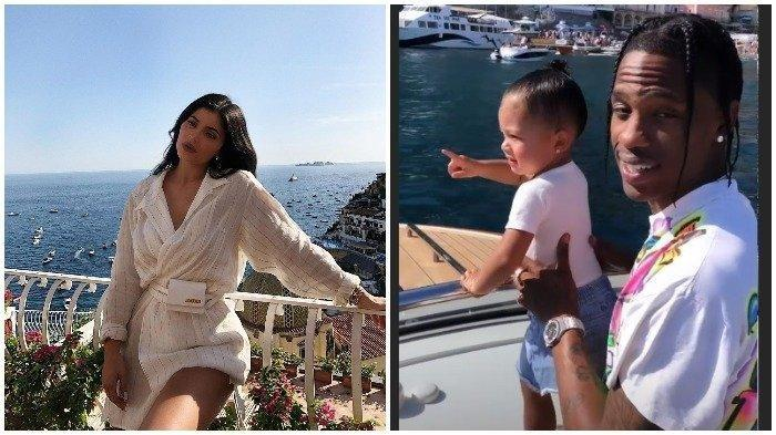 Kolase potret Kylie Jenner, Travis Scott, dan Stormy di Positano, Italia saat Kylie Jenner ulang tahun