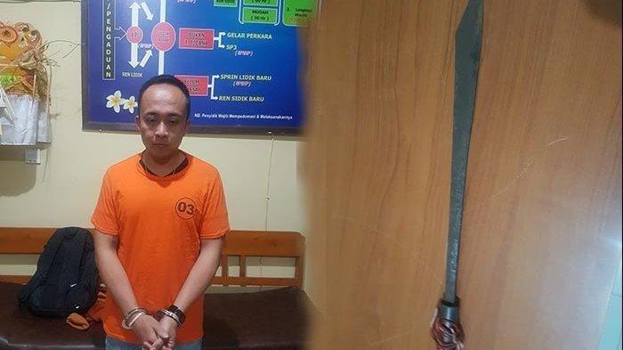 Pelaku Komang GB saat diamankan Polsek Abiansemal setelah terlibat penebasan oleh seorang dokter di Puskesmas Abiansemal, Badung, Kamis (19/9/2019). Dok Polsek Abiansemal/Tribun Bali