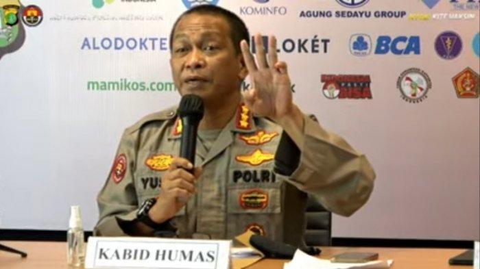 Kabid Humas Polda Metro Jaya Kombes Pol Yusri Yunus saat jumpa pers di Mapolda Metro Jaya, Rabu (11/9/2021).