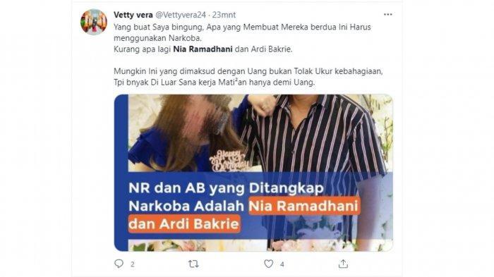 komentar warganet di Twitter terkait penangkapan Nia Ramadhani dan Ardi Bakrie.