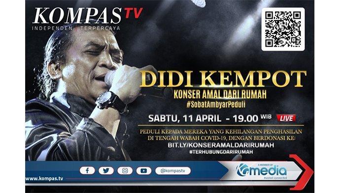 Didi Kempot dalam Gelar Konser Amal Dari Rumah. Konser penggalangan dana ini digelar pada Sabtu, 11 April 2020. Lokasi syuting konser berada di Studio Lokananta, Solo, Jawa Tengah.