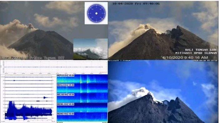 Kondisi Gunung Merapi pukul 09.40 WIB setelah erupsi pada Jumat 10 April 2020 pukul 09.10 WIB.