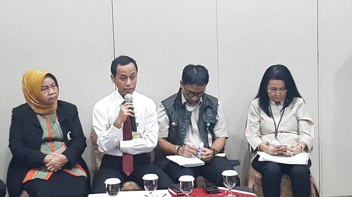 Konferensi pers Kementerian Kesehatan terkait kondisi dan pencegahan Virus Corona di Kantor Kementerian Kesehatan, Jakarta Selatan, Senin (27/1/2020).