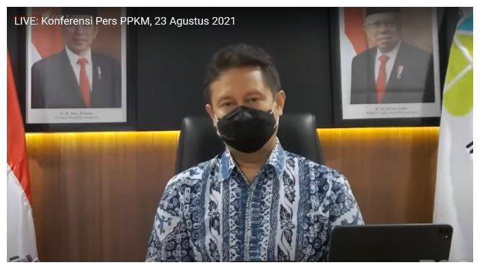 Konpers Menkes PPKM (Tangkap Layar Youtube Sekretariat Presiden, Senin (23/8/2021)