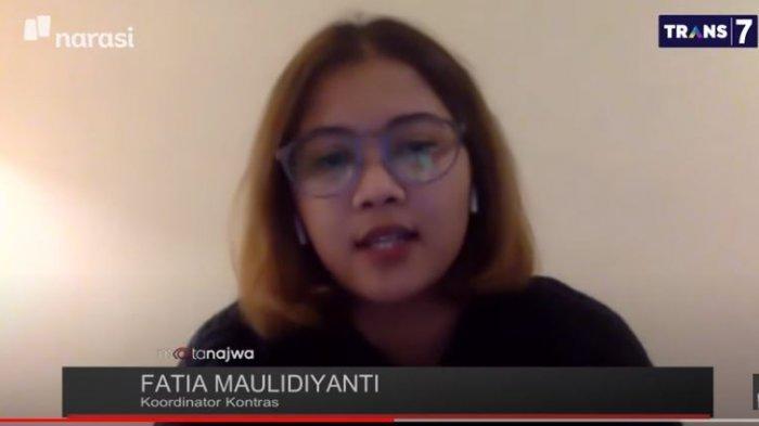 Koordinator Komisi untuk Orang Hilang dan Korban Tindak Kekerasan (KontraS) Fatia Maulidiyanti jelaskan alasan pihaknya tak menghadiri rekonstruksi penembakan berujung tewasnya 6 laskar FPI pada acara Mata Najwa di kanal YouTube Najwa Shihab, Rabu (17/12/2020).