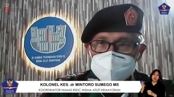 Koordinator Humas RSDC Wisma Atlet Kemayoran Kolonel Kes dr Mintoro Sumego MS dalam Talkshow bertajuk