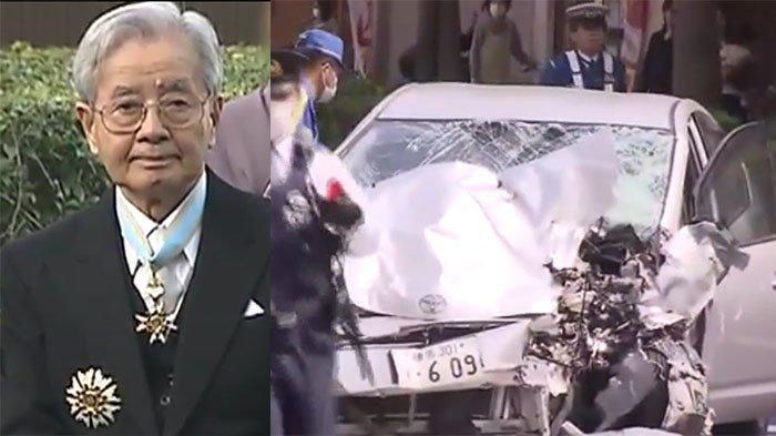 Kozo Iizuka (87), mantan Direktur Institut Teknologi Industri, Kementerian Ekonomi Perdagangan dan Industri (METI) Jepang (kiri) dan mobilnya yang menabrak 2 korban meninggal tanggal 19 April 2019.