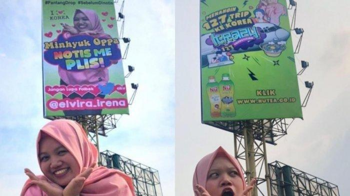 Elvira Irena saat berpose di billboard (papan reklame) berisi konten dirinya di Jalan Jenderal Ahmad Yani Kota Bekasi.