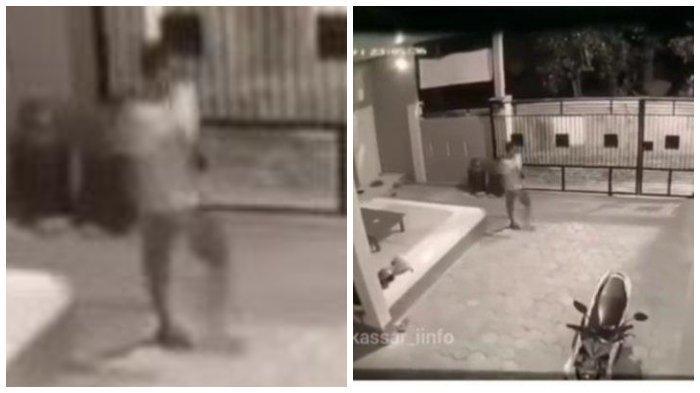 Tangkap layar video viral seorang pria merampok dan merudapaksa seorang mahasiswi di Makassar.