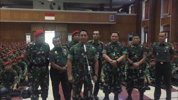 Kepala Staf TNI AD Jenderal Andika Perkasa di Balai Komando Kopassus, Cijantung, Jakarta Timur, Senin (20/5/2019).