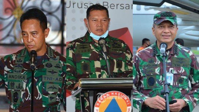KSAD Andika Perkasa, KSAL Yudo Margono, dan KSAU Fadjar Prasetyo.