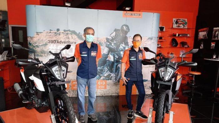 Peluncuran motor KTM 390 Adventure di showroom PT Penta Jaya Laju Motor, Jakarta, Jumat (28/8/2020). Motor ini dipasarkan Rp 119 juta on the road Jakarta.