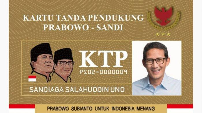 Viral KTP Prabowo-Sandi, Gerindra Sebut Tanpa Izin Prabowo dan Ancam Akan Laporkan Inisiator