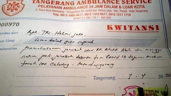 VIRAL Kuitansi Rp 15 Juta untuk Biaya Pemakaman Jenazah Pasien Corona di Tangerang, Begini Faktanya