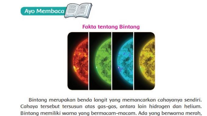 KUNCI JAWABAN Tema 9 Kelas 6 SD Halaman 75 76 77 78 79 Buku Tematik: Fakta tentang Bintang