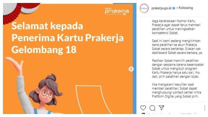 Kutipan postingan IG @prakerja.go.id 24 Agustus 2021.