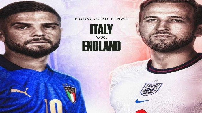Laga Final Euro 2021 yang mempertemukan Italia vs Inggris akan berlangsung pada Senin (12/7/2021) pukul 02.00 WIB, Live RCTI dan Mola TV.