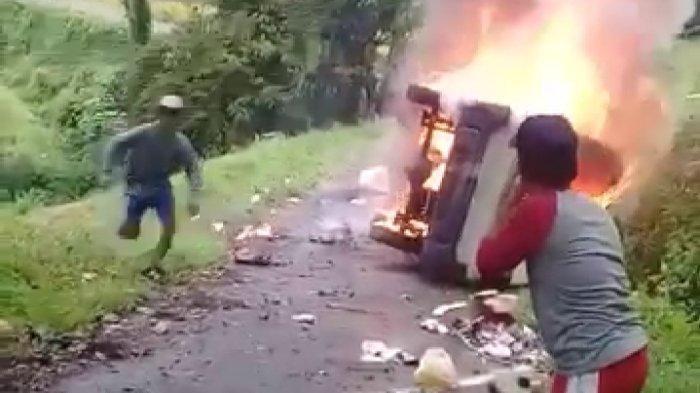 Laka Tragis di Tasikmalaya: Angkot Terguling dan Langsung Terbakar, Sopir Terlempar Lalu Meninggal
