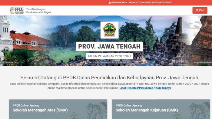 Laman pendaftaran PPDB online SMA/SMK di Jateng di ppdb.jatengprov.go.id.