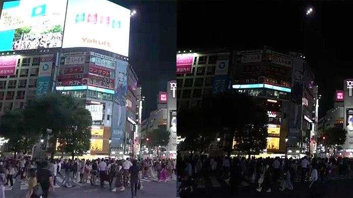 Foto perbedaan saat lampu menyala (kiri) dan saat dimatikan di persimpangan Hachiko yang paling ramai di dunia di Shibuya Tokyo Jepang
