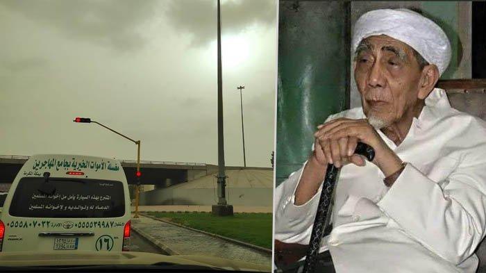 Mobil jenazah yang membawa Mbah Moen disaksikan langit mendung di Makkah (Kolase Twitter @lukmansaifuddin dan @sudjiwotedjo)