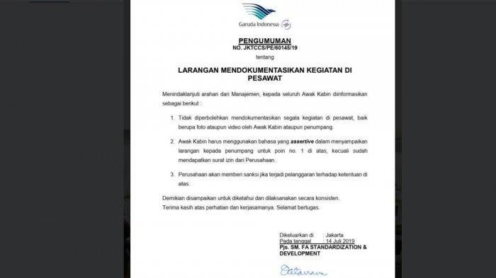 Surat pengumuman larangan mendokumentasikan kegiatan di pesawat baik foto dan video yang dikeluarkan maskapai Garuda Indonesia. Surat ini beredar di media sosial Twitter.