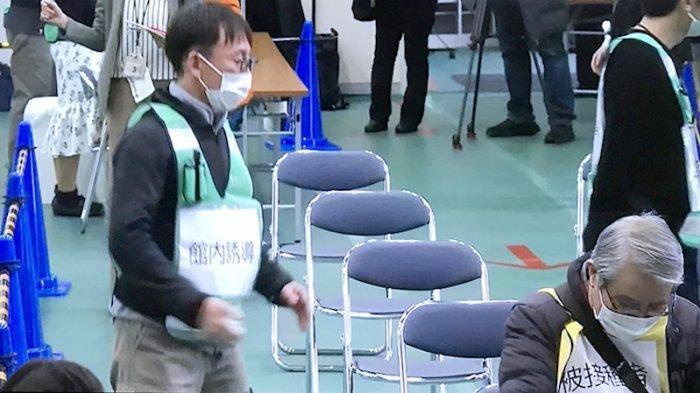 Suasana saat latihan vaksinasi dilakukan di Kawasaki Kanagawa Jepang Rabu ini (27/1/2021), pertama kali di Jepang.