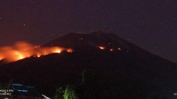 Terjadi Kebakaran Hutan di Lereng Akibat Semburan Lava Pijar Erupsi Gunung Ile Lewotolok