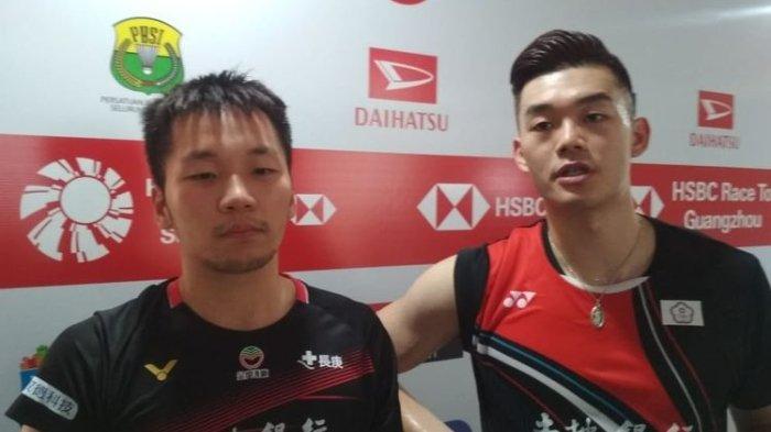 Ganda putra Taiwan, Lee Yang/Wang Chi-Lin (kanan), seusai bermain pada laga perempat final Indonesia Masters 2020 di Istora Senayan, Jumat, 17 Januari 2020.