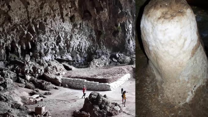 Batu Raksasa Berbentuk Kemaluan Pria di Gua Liang Bua di Manggarai
